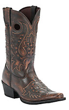 Durango Gambler Men's Dark Brown Debossed Snip Toe Western Boot