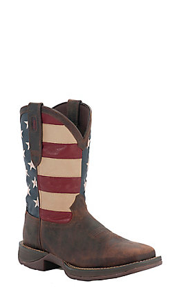 Durango Rebel Men's Dark Brown with American Flag Top Square Toe Western Boots