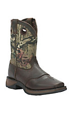 Durango Youth Distressed Brown with Camo Top Square Toe Western Boots