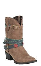 Durango Kids Girls Brown Floral and Turquoise Round Toe Boot