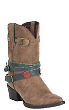 Durango Youth Girls Brown Floral and Turquoise Round Toe Boot