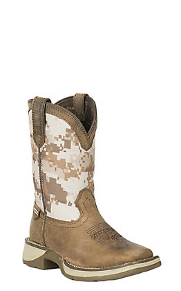 Durango Lil Rebel Youth Dusty Brown and Desert Camo Square Toe Western Boot