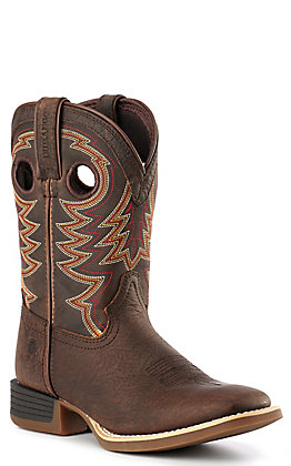 Durango Lil' Rebel Pro Kid's Brown Square Toe Western Boots