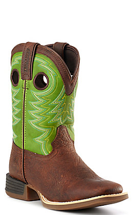 Durango Lil' Rebel Pro Youth Brown with Lime Tops Square Toe Western Boots