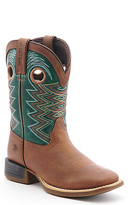 Durango Lil Rebel Pro Kids Wheat Brown and Tidal Teal Wide Square Toe Western Boots