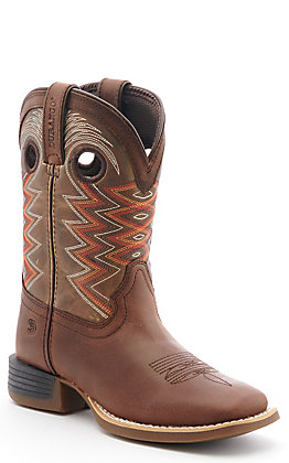 Durango Lil Rebel Pro Kids Tiger Eye Brown Wide Square Toe Western Boots