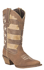 Durango Crush Ladies Tan with Distressed American Flag Upper Western Snip Toe Boots
