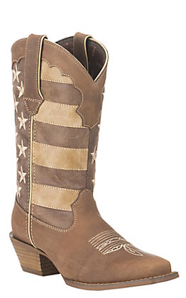 Durango Crush Women's Tan with Distressed American Flag Upper Western Snip Toe Boots