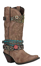 Crush by Durango Women's Brown Snip Toe Accessorized Western Boot