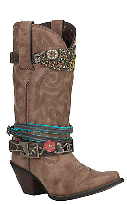 Crush by Durango Women's Brown Accessorized Snip Toe Western Boot
