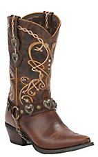 Durango Crush Women's Cognac Brown Heartbreaker Snip Toe Western Boot
