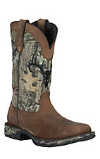 Rebel by Durango Men's Distressed Brown with Camo Square Toe Waterproof Western Boot