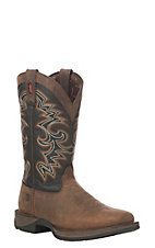Durango Rebel Men's Chocolate & Midnight Western Square Toe Boots