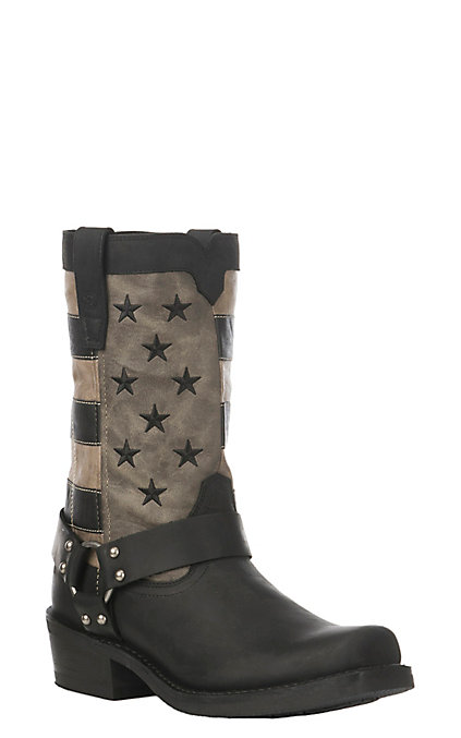 82fbe088765 Durango Rebel Men's Black Faded Flag with Harness Western Square Toe Boots