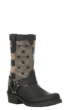 Durango Rebel Men's Black Faded Flag with Harness Western Square Toe Boots
