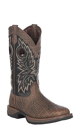 Rebel by Durango Men's Chocolate Safari Elephant Print & Black Square Toe Western Boots