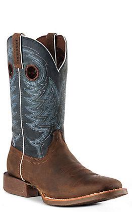 Durango Men's Rebel Pro Belgain Brown and Denim Wide Square Toe Western Boots
