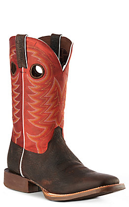 Durango Men's Rebel Pro Dark Brown and Red Wide Square Toe Western Boots