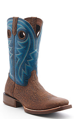 Durango Rebel Pro Men's Brown and Blue Ventilated Wide Square Toe Western Boots