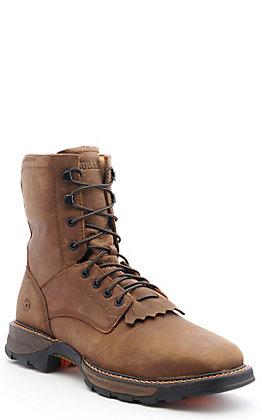 "Durango Men's Russet Brown Waterproof Steel Square Toe 8"" Lace Up Work Boots"