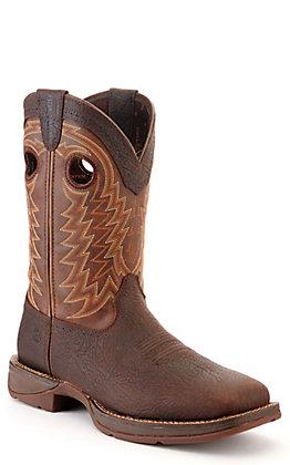 Durango Men's Rebel Dark Brown and Chestnut Wide Square Toe Boots - Cavender's Exclusive