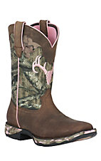 Durango Lady Rebel Women's Distressed Brown with Camo Top Square Toe Western Boot