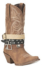 Durango Ladies Tan Belt Accessory Western Snip Toe Boots
