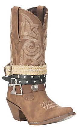 Durango Women's Tan Belt Accessory Western Snip Toe Boots