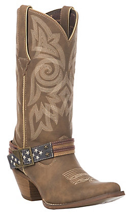 Durango Crush Women's Brown Khaki Flag Accessory Western Snip Toe Boot