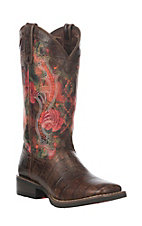Durango Mustang Women's Coral Monet Floral Faux Exotic Western Square Toe Boot
