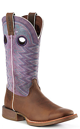 Durango Lady Rebel Pro Women's Dark Brown with Amethyst Tops Square Toe Western Boots