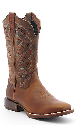 Durango Lady Rebel Pro Women's Distressed Cognac Western Square Toe Boots