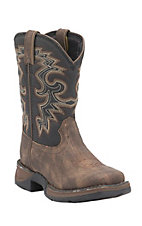 Durango Youth Tan with Midnight Top Square Toe Western Boots