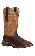 Durango Rebel Ramped-Up Men's Brown Camel with Tan Top Square Toe Western Boots