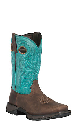 Durango Women's Lady Rebel Brown and Turquoise Square Steel Toe Work Boot