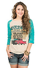 Southern Grace Women's Cream Burnout with Dukes Drive In Design and Turquoise Lace 3/4 Sleeves Casual Knit Top
