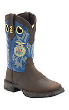 Durango Ladies Distressed Brown w/Blue Top FFA Logo Double Welt Square Toe Western Boots