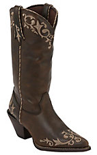 Durango Crush Women's Distressed Chocolate w/ Tan Scroll Embroidery Snip Toe Western Boots