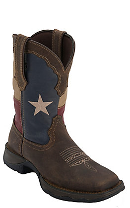 Durago Lady Rebel Women's Distressed Brown with Texas Flag Square Toe Western Boot