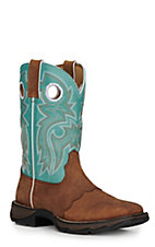 Durango Ladies Dark Brown with Powder Blue Upper Western Square Toe Boots