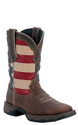 Durango Rebel Women's Dark Brown with American Flag Top Square Toe Western Boots