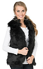 PPLA Women's Black Faux Fur Vest