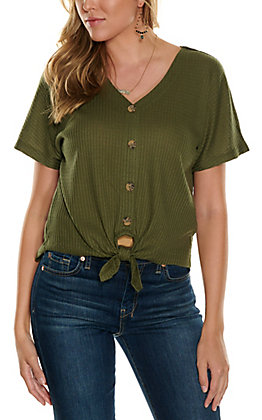Double Zero Women's Olive Waffle Knit Button Down Knot Front Short Sleeve Fashion Top