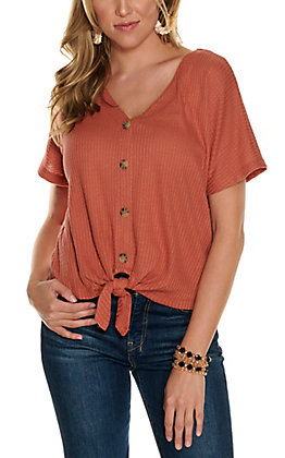 Double Zero Women's Rust Waffle Knit Button Down Knot Front Short Sleeve Fashion Top