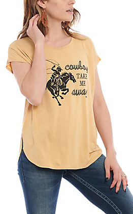 Double Zero Women's Mango Cowboy Take Me Away Short Sleeve Casual Knit Top
