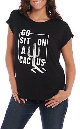 Double Zero Women's Black Go Sit On A Cactus Short Sleeve Top