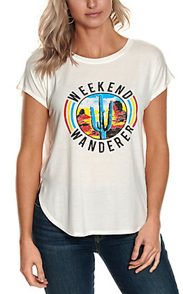 Double Zero Women's White Weekend Wanderer Cactus Graphic Short Sleeve Tee