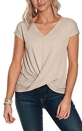 Double Zero Women's Taupe Twist Front Short Sleeve Casual Knit Top