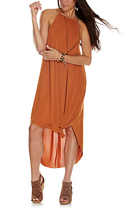 Double Zero Women's Rust Solid Sleeveless Maxi Dress
