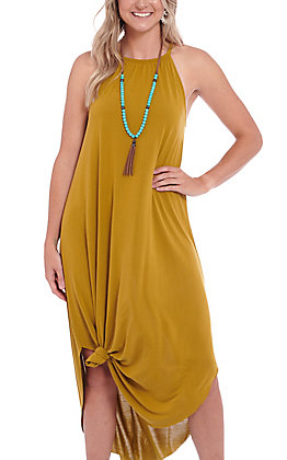 Double Zero Olive Halter Maxi Dress